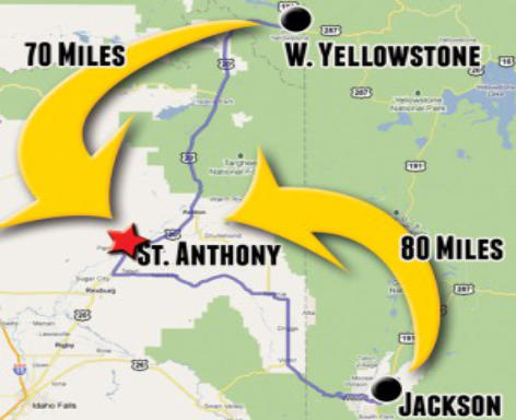 atv rentals st anthony sand dunes close to yellowstone map